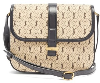 Saint Laurent print Leather-trim Cotton-canvas Satchel - Beige Multi
