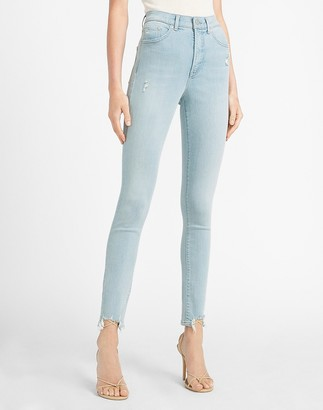 Express High Waisted Ripped Step Hem Skinny Jeans