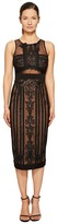 Marchesa Sleeveless Embroidered Cocktail w/ Stretch Crepe Panel Combo Women's Dress