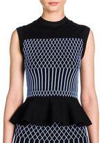 Fendi Knit Grid-Detail Peplum Top