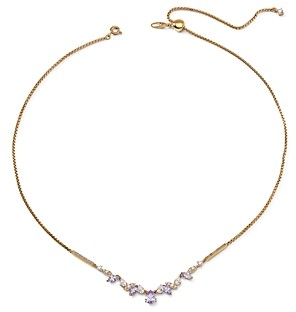 Nadri 18K Gold-Plated Purple & White Cubic Zirconia Collar Necklace, 15-18