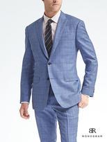 Banana Republic Slim Monogram Blue Plaid Wool Blend Suit Jacket