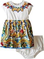 Dolce & Gabbana Escape Maiolica Jersey/Poplin Dress (Infant)