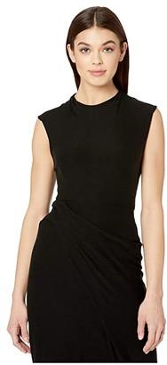 Vince Draped Neck Shell (Black) Women's Clothing