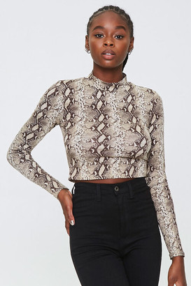 Forever 21 Snake Print Turtleneck Top