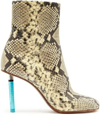 Vetements Python-effect Lighter-heel Leather Ankle Boots - Womens - Python