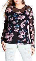 City Chic Plus Size Women's Floral Print Mesh Top
