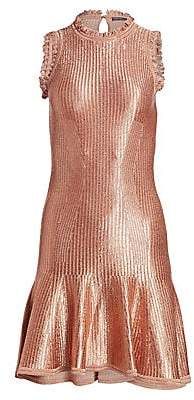 Alexander McQueen Women's Sleeveless Metallic Mini Dress