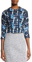 Oscar de la Renta Watercolor Plaid Jacquard Jacket, Marine Blue