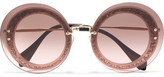 Miu Miu Round-frame Glittered Acetate And Gold-tone Sunglasses - Pink