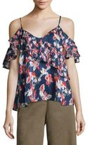 Tanya Taylor Chiara Floral Ikat Silk Cold Shoulder Top