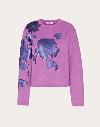 Valentino Embroidered Mohair Wool Polyamide Sweater Women Creamy Berry Mohair 67%, Wool 5% L
