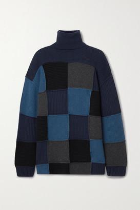 Givenchy Oversized Patchwork Cashmere Turtleneck Sweater - Blue