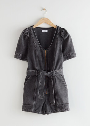And other stories Puff Sleeve Denim Romper