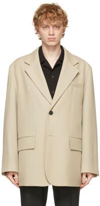 Solid Homme Beige Wool Oversized Blazer
