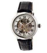 Heritor Automatic Ossibus Mens Skeleton Dial Leather-Band Silver Tone Watch
