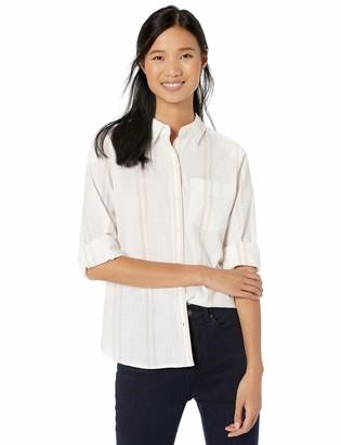 Goodthreads Washed Cotton Boyfriend Shirt White/Rose Double Stripe