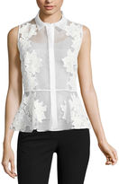 WORTHINGTON Worthington Organza Sleeveless Peplum Top - Tall
