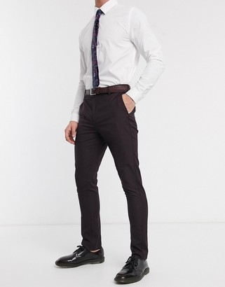 New Look skinny suit trouser in plum