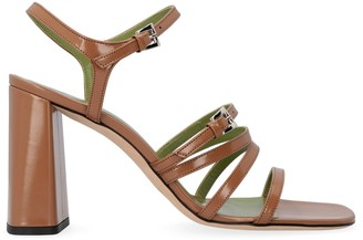 BY FAR Goldie Patent Leather Sandals With Heel