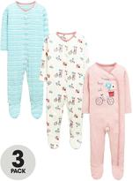 Ladybird Baby Girls Stripe and Bicycle Sleepsuits (3 Pack)
