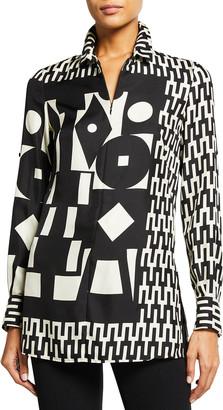 Akris Mosaic Print Wool/Silk Tunic Top