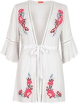 River Island Womens White floral embroidered bell sleeve kaftan