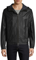 Vince Leather Hooded Scuba Jacket