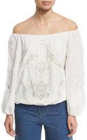 Alice + Olivia Alta Embroidered Cotton Peasant Top, White