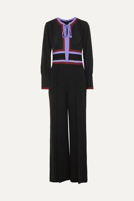 Diane von Furstenberg Elkie Striped Silk-crepe Jumpsuit - Black