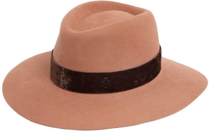 Maison Michel Charles Rabbit Fur Felt Hat W/ Velvet
