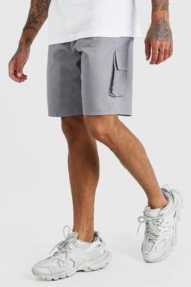 boohoo Mens Grey Fixed Waist Cargo Short, Grey