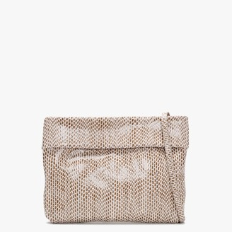 Malissa Beige Leather Reptile Cross-Body Bag