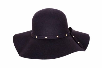 Macahel Women's 100% Wool Wide Brim Felt Bowler Fedoras Hats Lady Floppy Cap Black