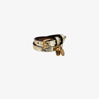 Alexander McQueen Gold Tone Wrapped Leather Bracelet