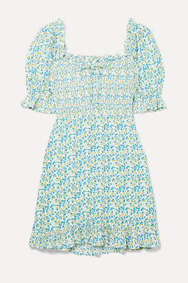 Faithfull The Brand Donna Shirred Floral-print Crepe Mini Dress - Sky blue
