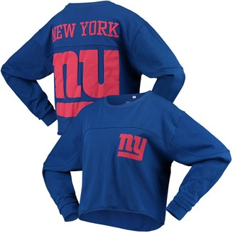 G Iii Women's G-III 4Her by Carl Banks Royal New York Giants Flight Song Crop Long Sleeve T-Shirt