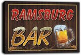 AdvPro Canvas scw3-039090 RAMSBURG Name Home Bar Pub Beer Mugs Stretched Canvas Print Sign