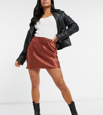 ASOS DESIGN Petite mini high shine satin slip skirt in terracotta