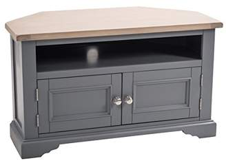Minki Home Oak Painted Corner TV Cabinet in Dark Grey, Wood, Light Oak Top, Hand Painted, Carved Detail with 4 Shelves and Pre-Drilled For Wiring