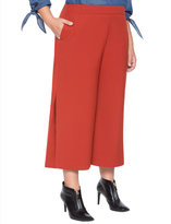 ELOQUII Plus Size Wide Leg Cropped Side Pleat Pant