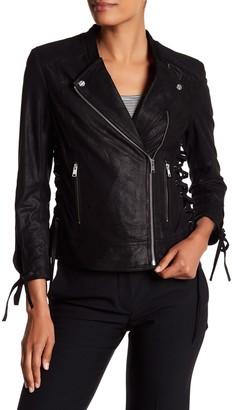 LAMARQUE Rena Lace-Up Genuine Leather Biker Jacket