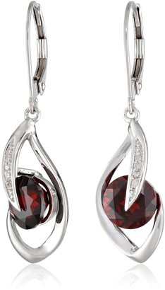 Amazon Collection 10k White Gold Amethyst and Diamond Accent Flame Drop Earrings