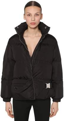 Prada SHORT NYLON DOWN COAT W/BELT BAG DETAIL