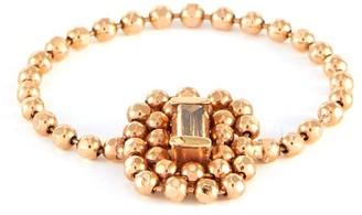 Xiao Wang Elements' baguette diamond 14K rose gold bead chain ring