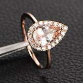 JeenJewels Limited Time Sale: 1.25 Carat Peach Pink Morganite (pear cut Morganite) and Diamond Engagement Ring in 10k Rose Gold
