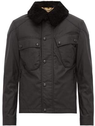 Belstaff Patrol Shearling Trimmed Waxed Cotton Jacket - Mens - Black