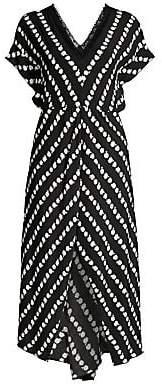 Maje Women's Ritta Daisy Print Crepe Midi Dress