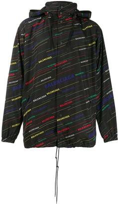 Balenciaga Logo Print Oversized Raincoat