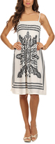 White Arabesque Smocked Midi Dress